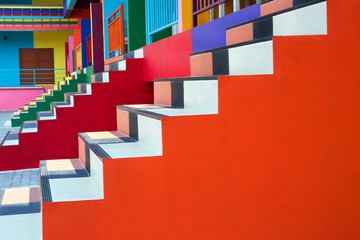 Patterns and bright colors of the stairs.