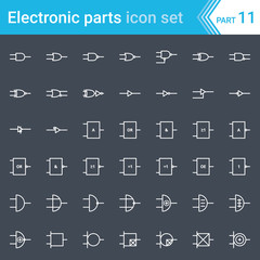 Electric and electronic icons, electric diagram symbols. Digital electronics, logic gate (ansi system, british system, din system, nema system).