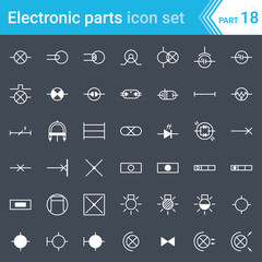 Electric and electronic icons, electric diagram symbols. Lighting.