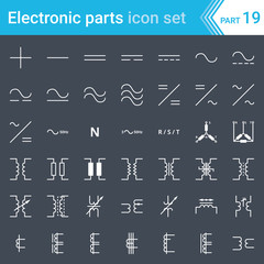 Electric and electronic icons, electric diagram symbols. Current, three-phase connections and electrical transformers.