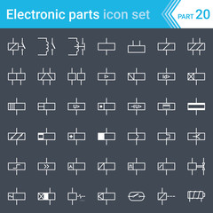 Electric and electronic icons, electric diagram symbols. Relays and electromagnets.