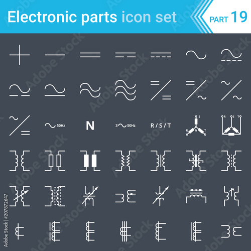 electric and electronic icons, electric diagram symbols  circuitry, blocks,  stages, amplifier, logic circuits, piezoelectric crystals and crystal