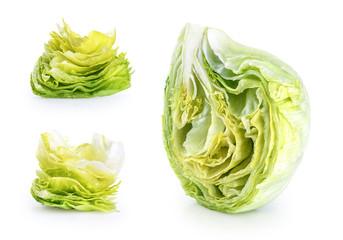 Iceberg lettuce isolated on a white background.