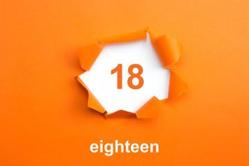Number 18 - Number written text eighteen
