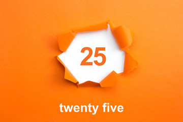 Number 25 - Number written text twenty five