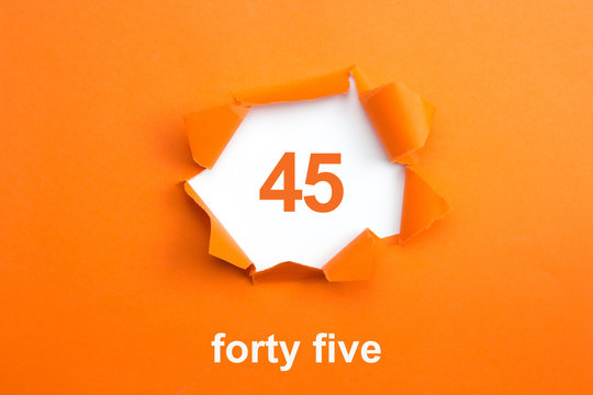 Number 45 - Number written text forty five