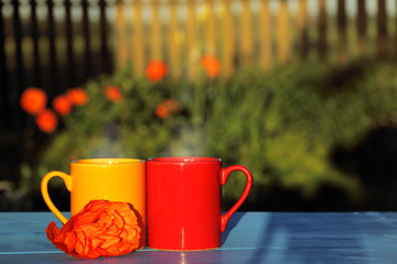 romantic atmosphere with hot drinks/ two mugs decorated with a poppy flower against a background of flower beds in the garden