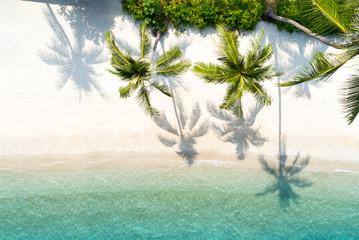 Top view aerial drone shot of beautiful beach
