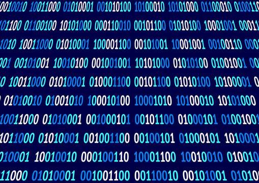 Binary background of blue and white numbers on a blue background.