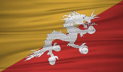 bhutan flag vector. Vector bhutan flag blowig in the wind. EPS 10.