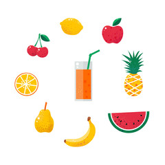 Fruit vector set isolated on white background. Clipart collection of bright colored tropical fruits. Fresh juice drink. Cute design cartoon illustration lemon cherry apple pineapple watermelon orange