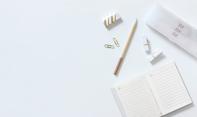 Love concept with collection of stationery items