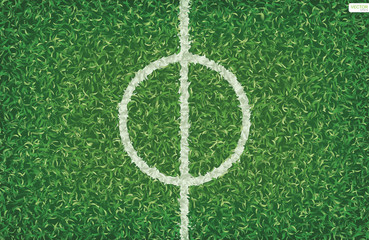 Soccer football field background with center line area. Vector.