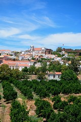 View of the town with the Gothic cathedral and castle to the rear and orchards in the foreground, Silves, Portugal.
