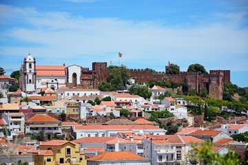 View of the town with the castle and cathedral to the rear, Silves, Portugal.