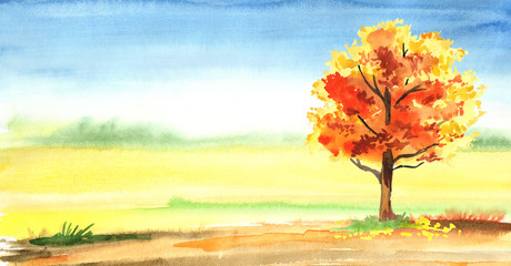 Autumn horizontal background. Watercolor hand drawn illustration