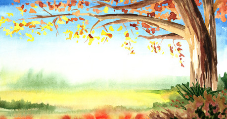 Autumn horizontal template and  background. Watercolor hand drawn illustration