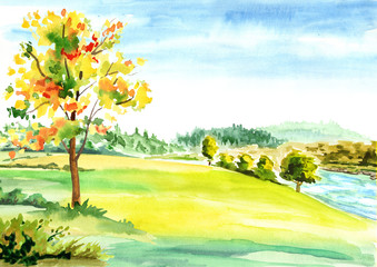 Canvas Prints Yellow Autumn landscape background. Watercolor hand drawn illustration
