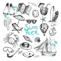 Hand drawn sketch illustration summer collection on a white background