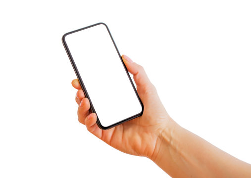 Person holding smartphone with blank white screen. Mobile app mockup.