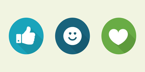 Social media icon. Vector illustration of thumbs up ,emoticon and heart button.