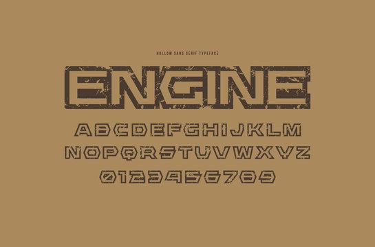 Hollow sans serif font in futuristic style