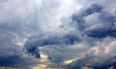 Gray rainy sky with big clouds.