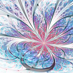 Red and blue fractal flower, digital artwork for creative graphic design