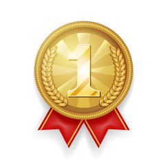 Gold award sport 1st place medal red ribbon realistic 3d vector illustration