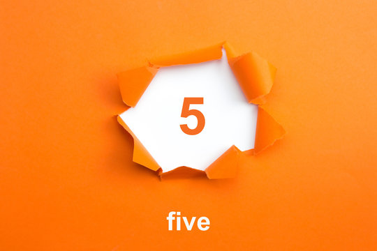 Number 5 - Number written text five