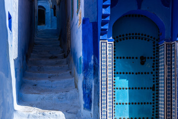 Chefchaouen, blue street and door