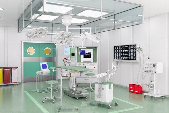 Moderner Operationssaal OP mit Videomanagementsystem und Deckenversorgungseinheiten
