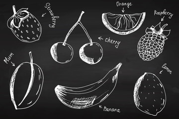 Fruit. On the chalkboard. Set. For your design. School.