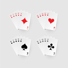 Royal flush set. Vector poker combination isolated on gray background.