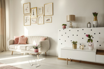 Side angle of a living room interior with white sofa, coffee table, cabinet, art collection and plants