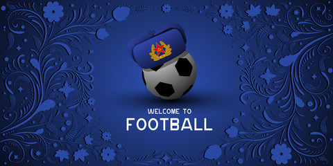 Background on Football in Russia. Hat earflaps on the ball. Russian pattern background. Football in Russia in 2018. Football championship.