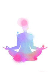 Watercolor yoga silhouette on white background. Digital art painting