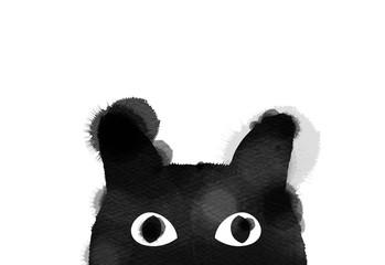 Silhouette of watercolor black cat