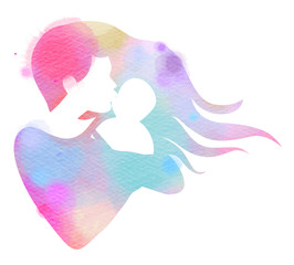 Happy family silhouette on watercolor background. Mother and baby. Mother's day. Digital art painting