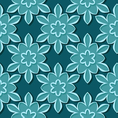 Seamless pattern. Floral blue green 3d background