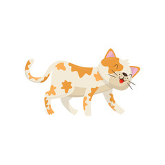 Funny cat with red spots. Kitten walking and smiling. Flat vector element for children book or poster or pet store