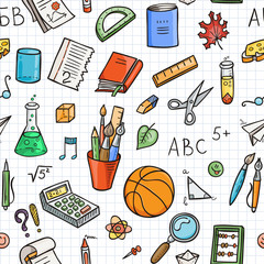 Seamless lined back to school pattern with supplies stationary and other creative elements