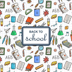Back to School background with supplies. Sketchy notebook doodles backdrop with text