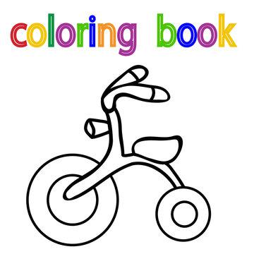 vector, white background, book coloring children's bike