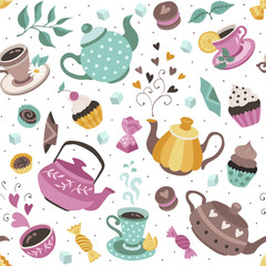 Tea time seamless pattern. Tea party wrapping paper design. Hand drawn doodle illustration with teapots, cups and sweets on white background.