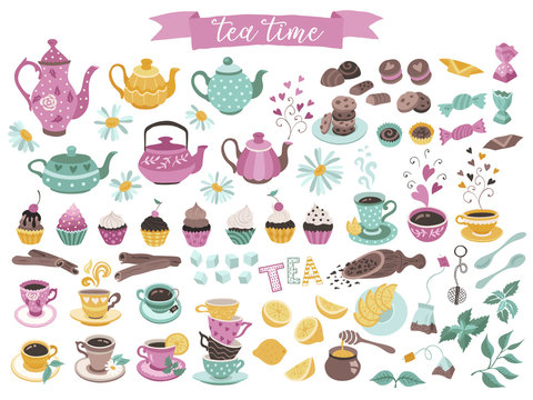 Tea time elements collection. Hand drawn tea vector icons. Teapots, cups, cupcakes and sweets isolated on white background. Design elements.