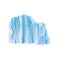 Large blue iceberg or ice mountain with lights and shadows. Flat vector for travel poster or landscape background of mobile game