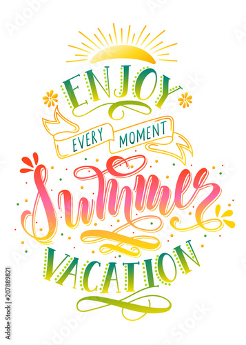 95518a3f044 Enjoy Summer Vacation handwritten lettering quote for banner