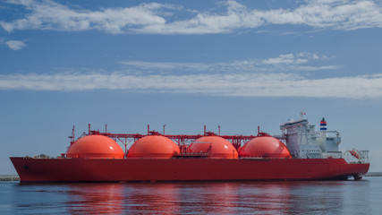 LNG TANKER - Sunny day over a tanker at the gas port in Swinoujscie