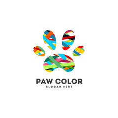 Abstract Pet Paw logo designs concept vector, Colorful Paw logo icon